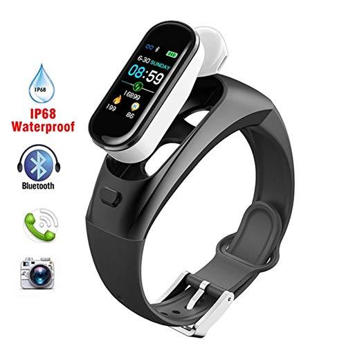 WXYIN 2-in-1-Fitness-Armband Activity Tracker Bluetooth-Headset Smartwatch mit Echtzeit-Herzmonitor, Schlafmonitor, Erinnerungsfunktion,Black