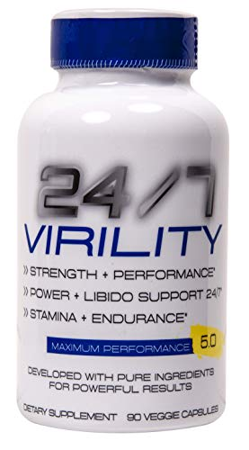 24/7 Virility Testosterone & Enlargement Booster for Men - Increase Size, Strength, Stamina - Energy, Mood, Endurance Boost - All Natural Performance Supplement - Made in USA