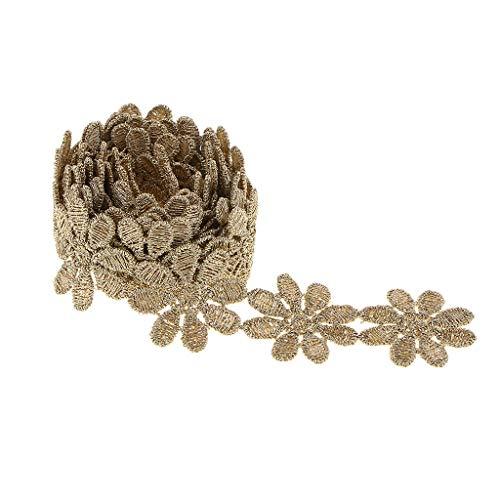 Hellery Costura de Bricolaje con Apliques de Cinta de Borde de Encaje Bordado de Oro Vintage - Flor 1, Individual