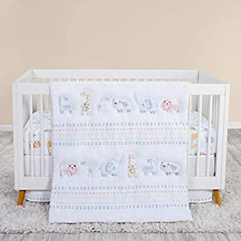 Trend Lab Crayon Jungle 3 Piece White Crib Bedding Set   Nursery Comforter/Quilt Fitted Crib Sheet and Crib Skirt