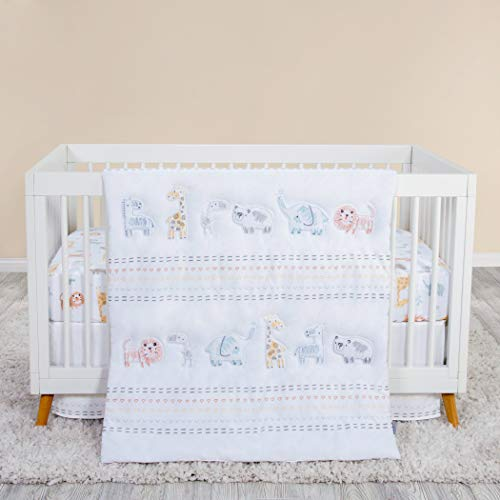 Trend Lab Crayon Jungle 3 Piece White Crib Bedding Set | Nursery Comforter/Quilt, Fitted Crib Sheet, and Crib Skirt
