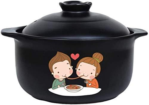 WANGQW Pote de cazuela de cerámica Antiadherente, Stockpo Pote de cerámica de la Olla de gallina de gallina Grande de la cazuela Adecuada para el Horno de la Estufa de inducción (Size : 3000ml)