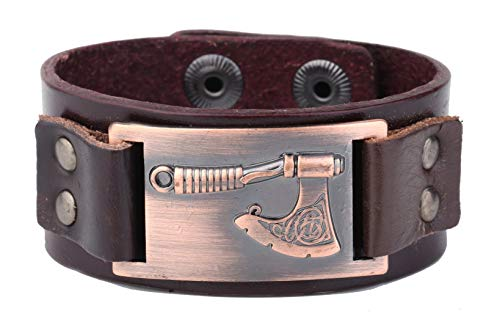 ZSML Vintage Charm Lederarmband Slawische Äxte Anhänger Amulett Schmuck Armreif (Antik Kupfer, Braun)