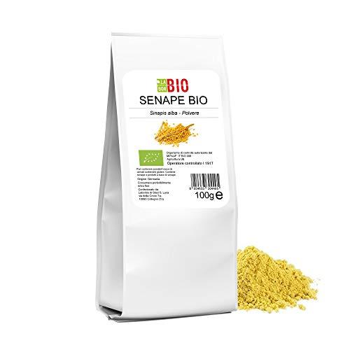 Senape Gialla in polvere Bio 100 g - 100% Naturale Vegan senza Conservanti e OGM per salse e sughi - Alta qualità Kosher