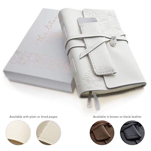 Leather Journals for Women and Men + Pen Holder | 8' x 6' | Lined or Plain Non-Bleed Paper | Sketchbook & Writing Travel Notebook | Handmade Genuine Bound Leather Journal to Write in (White, Lined)