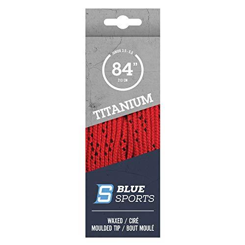 BLUE SPORTS Titanium Pro Schnürsenkel gewachst Bändel Lacey Hockey Eishockey Skaterhockey (rot 96