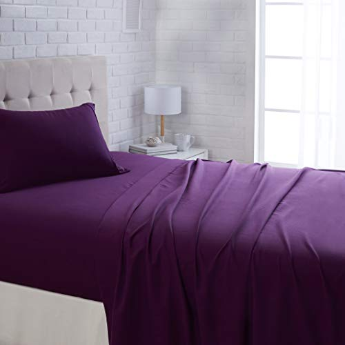 AmazonBasics Lightweight Super Soft Easy Care Microfiber Sheet Set with 16' Deep Pockets - Twin, Plum