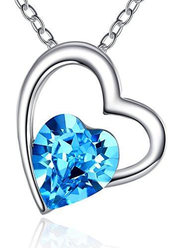 FLORAY Collana con Ciondolo in Cristallo Blu a Forma di Cuore in Lega Placcata Oro per Donna