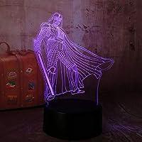 剣士の戦士3D LEDナイトライトクリエイティブホームデコレーション3Dビジョン3Dビジュアル照明7色変更USB充電テーブルランプ誕生日プレゼントエンターテイメント装飾ギフト子供のおもちゃ [並行輸入品]