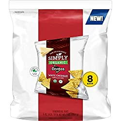 Simply Doritos Tortilla Chips, White Cheddar, 0.875oz Bags, (8 Pack)