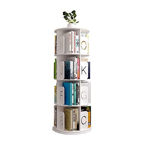 MOM Home Storage ShelvesOffice Furniture Stands Rotating Bookshelf 360 Degree Bookcase Alphabet Board Round Turntable Floor-Standing Stainless Steel Link Bedroom Space Saving HoldersRound Letter 4