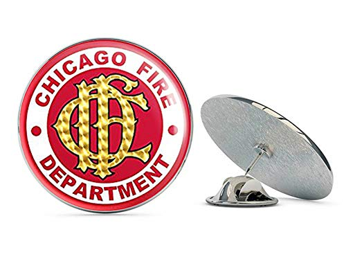 """NYC Jewelers Round Chicago Fire Department Seal (CFD Logo dept) Metal 0.75"""" Lapel Hat Pin Tie Tack Pinback"""