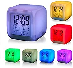 Siddhi Collection 7 Colour Changing LED Digital Alarm Clock with Date, Time, Temperature