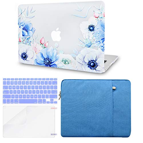 LuvCase 4 in 1 Laptop Case for MacBook Air 13 Inch A1466 / A1369 (No Touch ID)(2010-2017) Hard Shell Cover, Sleeve, Keyboard Cover & Screen Protector (Blue and White Poppy)