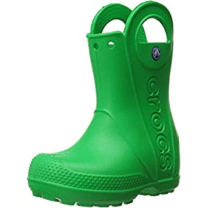 Crocs Kids' Handle It Rain Boots, Easy On for Toddlers, Boys, Girls, Lightweight and Waterproof, Grass Green, 11 M US Little Kids