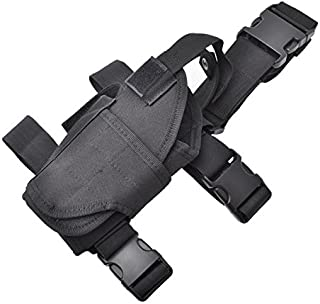 CISNO Tactical Pistol Leg Holster, Adjustable Airsoft Gun Drop Thigh Holster, Military Harness Pouch, Left and Right Handed Set, Black