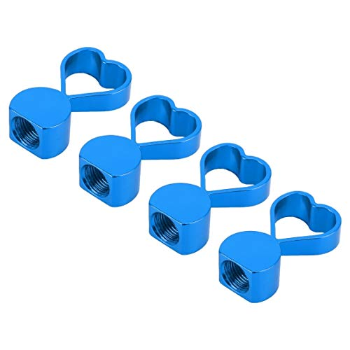 N/A Hsagdas Heart-Shaped Gas Cap mondstuk-afdekking banden Cap autobanden ventieldoppen, 4 stuks Baby Blue.