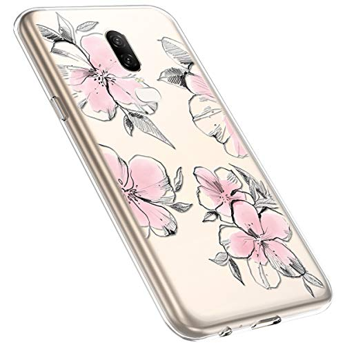 MoreChioce kompatibel mit OnePlus 6 Hülle,OnePlus 6 Handyhülle Blume,Ultra Dünn Transparent Silikon Schutzhülle Clear Crystal Rückschale Tasche Defender Bumper,Blumenzweig #28