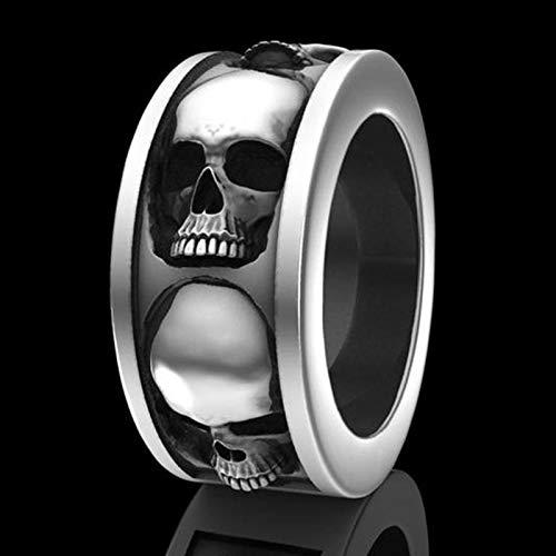 LINYIN 2PCS Skull Ring Banquete joyería de Mano de los Hombres joyería de la Mano joyería de Vacaciones 8号 CR6479 Silver