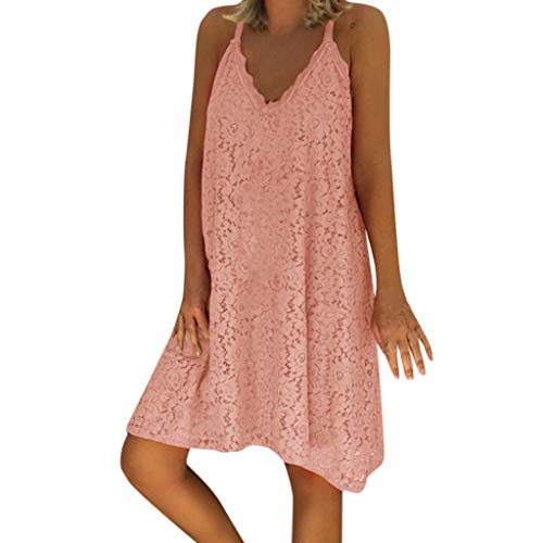 Cheapest Prices! ZOMUSAR Women's Summer Sleeveless Solid Casual V Neck Dress Loose Plus Size Lace Dr...