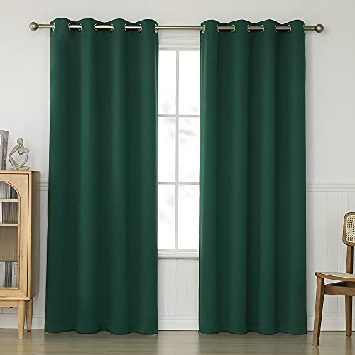 KEQIAOSUOCAI Dark Green Blackout Curtains 84 Inch for Living Room - 2 Panels Grommet Room Darkening Hunter Green Curtain Thermal Insulated Sleep Well Drapes for Bedroom, 52Wx84L, Emerald