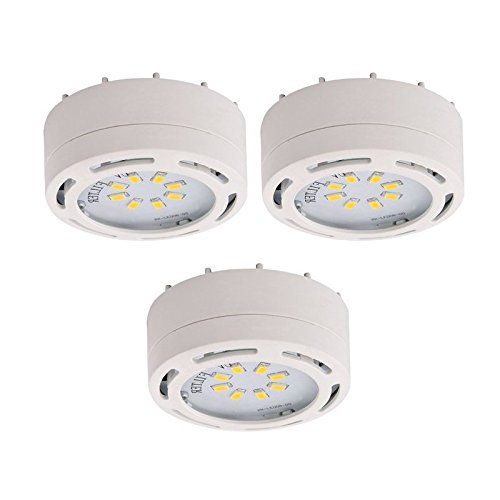 LED Under Cabinet Puck Light Accent Kit 120 Volts (Set of 3 Puck Lights) (White)