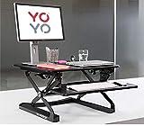 Yo-Yo DESK 90 (NOIR) – Meilleur bureau sur pied à hauteur réglable [90 cm de large]. Solution assis-debout supérieure adaptée à tous les postes de travail et postes de travail debout.