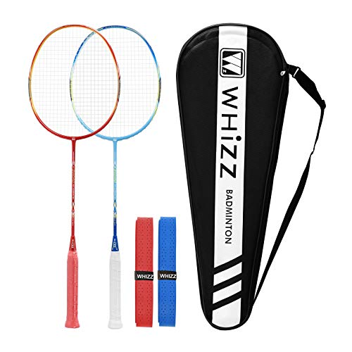 QICHUAN Whizz Heavy Duty Graphite Badminton Racket, Full Carbon Fiber Professional Racquet Set for Adults, w/ Badminton Bag & 2 Racquet Grip (Red+Blue)