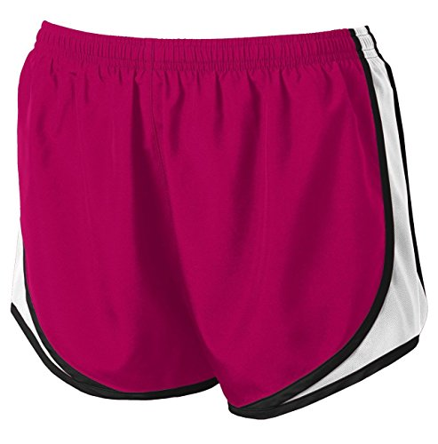 Clothe Co. Ladies Moisture Wicking Sport Running Shorts, Pink Raspberry/White/Black, M