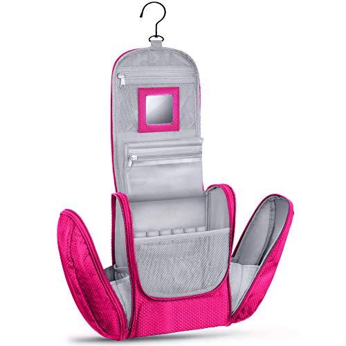 Großer Premium Kulturbeutel zum Aufhängen mit Spiegel [Modell 2021] für Männer und Frauen I Geräumiger Kulturtasche Herren mit Haken I Beauty Case Damen I Waschtasche I Kosmetiktasche Pink