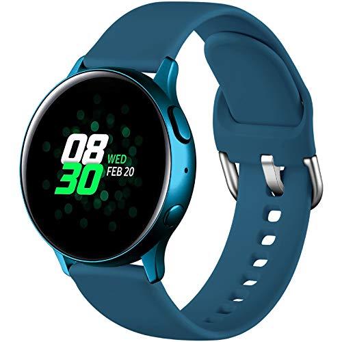 Dirrelo Deportiva Correa Compatible con Samsung Galaxy Watch Active/Active 2 40mm/44mm, Reemplazo de Silicona para Galaxy Watch 42mm/Gear Sport/Gear S2 Classic para Mujeres y Hombres, Pizarra