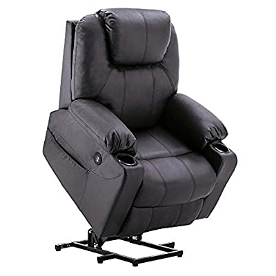 Mcombo Electric Power Lift Recliner Chair Sofa with Massage and Heat for Elderly, 3 Positions, 2 Side Pockets and Cup Holders, USB Ports, Faux Leather 7040
