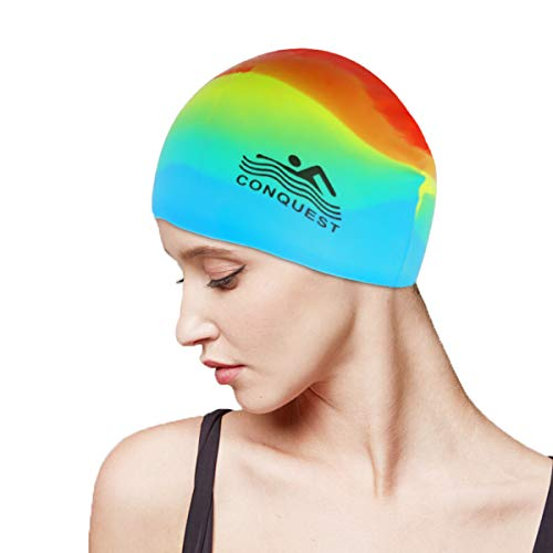 ?Material de seguridad y alta calidad? Las gorras de natación están hechas de material 100% de silicona que se caracteriza por ser resistente a las roturas, inodoro y no tóxico, liviano, suave, impermeable y duradero ?Experiencia de uso cómoda? El di...