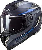 LS2 Casco de moto FF327 CHALLENGER CT2 DRONE MATT BLUE, Negr