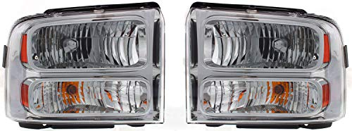 Evan-Fischer Headlight Set Compatible with 2005-2007 Ford F-250 Super Duty F-350 Left Driver and Right Passenger Side Halogen With bulb(s)
