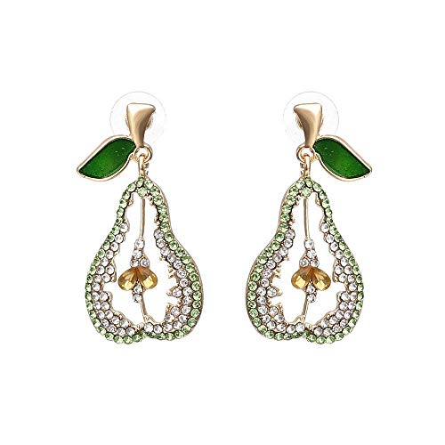 ZHICHUAN Vintage Earrings Color Imitated Diamond Ear Rings Fruit Earrings Alloy Pear Earrings Female Earrings Drop Earrings Womendrop Earrings Women Retro/A