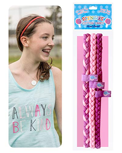 Scenties Cotton Candy Scented Head Bands, 3 Pack | Thin Headbands for Soccer, Sports, Gym & Dance | Narrow Elastic Headbands For Women & Kids Sweat Band Head | Cute Accessories for Teen Girls