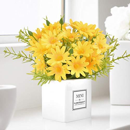 Artificial Flowers, Daisy Flower with Vase Silky Artificial Daisies Bouquet Fake Plant Bonsai for Home Office Wedding Decoration, Table Centerpieces Arrangement, Windowsill Decor