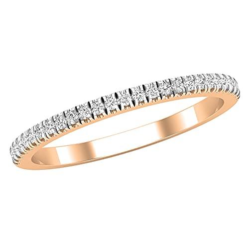 Dazzlingrock Collection Alianza de boda apilable para mujer, de 0,15 quilates creciendo en laboratorio, de media eternidad, para mujer, oro rosa de 14 quilates, talla 4,5