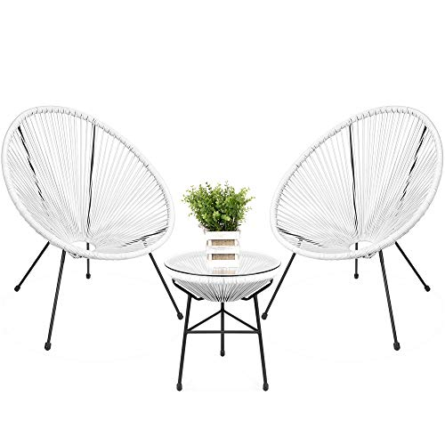 Best Choice Products 3-Piece All-Weather Patio Acapulco Bistro Furniture Set w/Rope, Glass Top Table - White