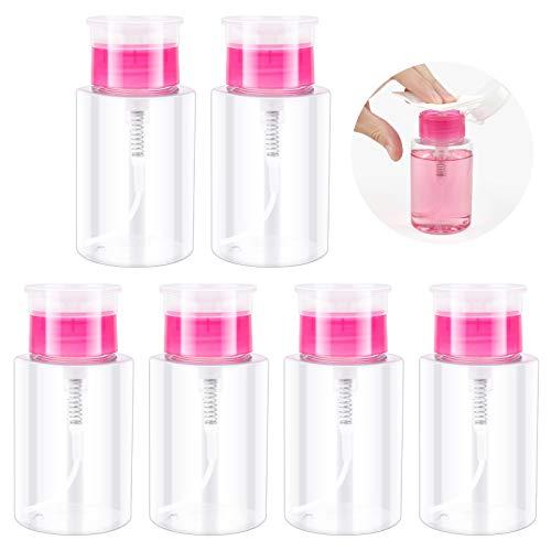 6 Piezas 180ML Bomba de Botella Vacía Dispensador para Quitaesmalte Contenedor de Botella de Líquido Botella de Viaje de Plástico, Claro y Rosa