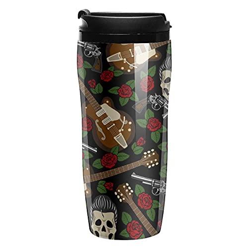 Botella de agua Rockabilly Guitarras y calaveras de viaje tazas de café con tapa