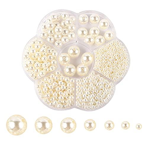 DHYED 1150 perlas redondas lisas de satén, perlas artificiales, 7 tamaños mezclados para manualidades, fabricación de joyas, pendientes, pulseras, – 3/4/5/6/8/10/12 mm (beige)