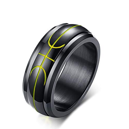 EZSONA Schwarz Edelstahl 8mm Ringe für Herren Basketball Muster gewölbter Spinner Ring Größe 62 (19.7)