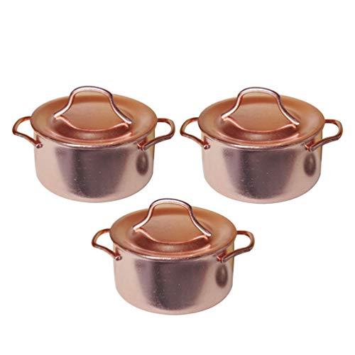 ARTIBETTER 3pcs 1: 12 Miniature Copper Pots with Lid Mini Kitchenwares Dollhouse Kitchen Accessories for Dollhouse Accessories Miniature Decoration Furniture Kids Toy