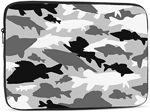 BONRI Funda para portátil gris camuflaje de peces de agua dulce compatible con estuche para ordenador portátil clásico de 10-17 pulgadas, 12 pulgadas
