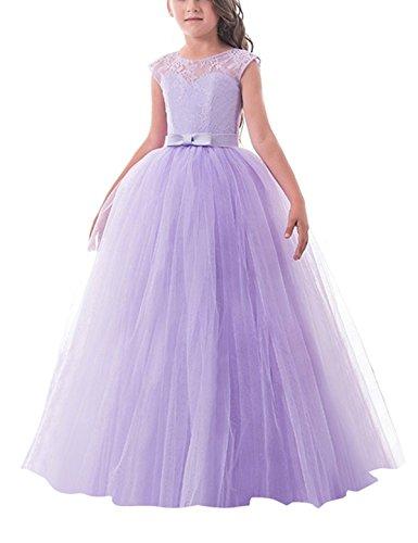 NNJXD Mädchen Kinder Spitze Tüll Hochzeit Kleid Prinzessin Kleider Größe (170) 12-13 Jahre Lila