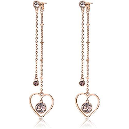 Orecchini donna lunghi BROSWAY SIGHT in acciaio oro rosa e cristalli rosa BGH24