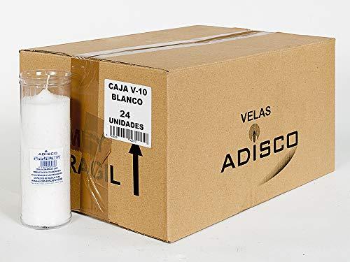 Arcibold Home Caja 24 velones V-10 Blanco. Velas de 55 x 180 mm. Velas de parafina Blanca en envase de plástico Trasparente. Sin Aroma.