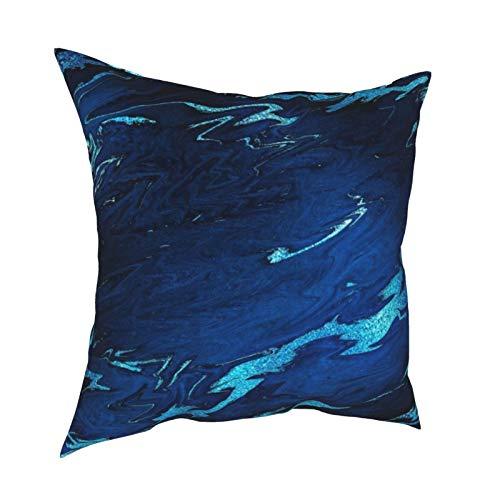 Funda de cojín con cremallera, color azul marino, turquesa, de mármol negro, para decoración diaria, funda de cojín con cremallera, para regalo, hogar, sofá, cama, coche, 45,72 x 45,72 cm
